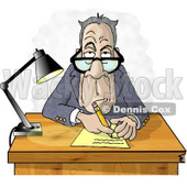 Clipart Of A Grumpy Crotchety Old Bespectacled White Businessman Interviewing Someone and Taking Notes - Royalty Free Illustration © djart #6037