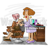 Hairdresser Working On a Client Clipart Picture © Dennis Cox #6039