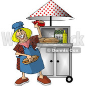 Happy Lady Working at a Portable Roadside Hot dog Stand Clipart Picture © djart #6045