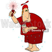 Hot Man Drinking a Cold Beverage and Using a Hand Held Fan Clipart Picture © Dennis Cox #6048