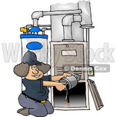 Woman Repairing a Broken Furnace Attached to a Water Heater Clipart Picture © djart #6049