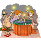 Happy Men and Women at a Hot Tub Party Clipart Picture © Dennis Cox #6050