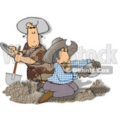 Gold Miners Panning for Gold Clipart Picture © Dennis Cox #6051