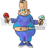 Happy Fat Man with Two Ice Cream Cones Clipart Picture © djart #6052