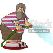 Fat Man with a Beard Spraying Water from a Garden Hose Clipart Picture © djart #6053