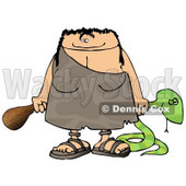 Cavewoman Holding a Dead Snake and a Wooden Club Clipart Picture © Dennis Cox #6056