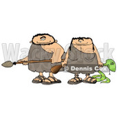 Hunting Caveman and Cavewoman Armed with Weapons Clipart Picture © Dennis Cox #6057