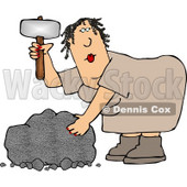 Cavewoman Shaping a Stone with a Hammer-like Tool Clipart Picture © djart #6058