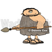Caveman Hunting for Animals with a Spear Clipart Picture © Dennis Cox #6060