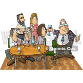 Businessman Showing Up Late to an Office Party Clipart Picture © Dennis Cox #6062