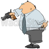Angry Businessman Pointing a Loaded Gun at Someone Clipart Picture © Dennis Cox #6063