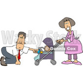 Businessman with a Pregnant Wife and Baby Daughter Clipart Picture © Dennis Cox #6064