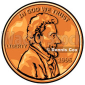 Close Up of an American Penny, Worth One Cent Clipart Picture © Dennis Cox #6071
