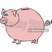 Pink Piggy Bank with Blue Eyes Clipart Picture © djart #6077