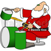 Santa Claus Playing with a New Drum Set Clipart Picture © djart #6083