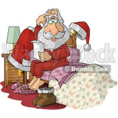 Overwhelmed Santa Claus Sitting on Bed with Letter Clipart Picture © Dennis Cox #6085