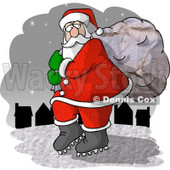 Santa Claus Carrying Toy Bag to Town Clipart Picture © Dennis Cox #6086