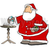 Santa Claus with Fresh Milk and Cookies Clipart Picture © djart #6087
