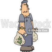 Wealthy Man Carrying Money Bags Clipart Picture © Dennis Cox #6092