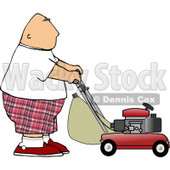 Fat Bald Man Mowing Lawn Clipart Picture © djart #6093