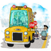 Elementary School Children Waiting For a Bus Driver to Signal For Them to Cross a Street Clipart © djart #6109