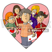 Confused Boy on Valentines Day, Surrounded by Girls That Have a Crush on Him Clipart © djart #6112