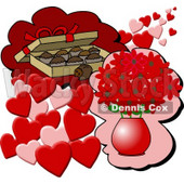 Box of Chocolate Candies and a Vase of Red Flowers With Hearts for Valentines Day Gifts Clipart © djart #6114