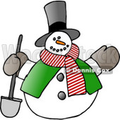 Frosty, the Snowman in a Tophat, Scarf and Vest, Holding a Shovel Clipart © djart #6119