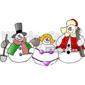 Frosty the Snowman, Snow Woman in a Bikini and Another Snow Man Clipart © djart #6120