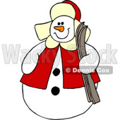 Snowman Holding a Pair of Skis Clipart © djart #6121