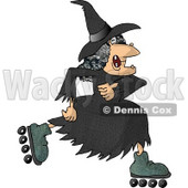 Warty Old Female Witch Roller Skating Clipart © Dennis Cox #6124