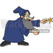Wizard Man in a Blue Gown, Pointing His Magic Wand Clipart © djart #6125