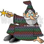 Sitting Wizard Man Pointing His Magic Wand Clipart © djart #6126