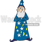 Bearded Wizard Man in a Star and Moon Patterned Hat and Gown, Standing With His Arms Crossed Clipart © djart #6127