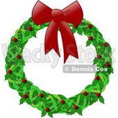 Christmas Wreath With a Red Bow, Holly and Berries Clipart Illustration © djart #6129
