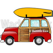 Woody Car With a Surfboard on the Roof Rack Clipart Illustration © Dennis Cox #6133