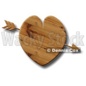 Arrow Through a Wooden Heart Clipart Illustration © djart #6135