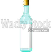 Blue Glass Bottle With a Blank Label on it Clipart Illustration © djart #6136