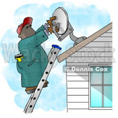 African American Man Installing a Household Satellite Dish Clipart Picture © Dennis Cox #6139