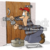 Male Locksmith Picking a Padlock Clipart Picture © djart #6140