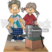 Brother and Sister Watching Tv Together Clipart Picture © djart #6141