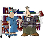 Librarians Putting Books On Shelves Clipart Picture © djart #6142