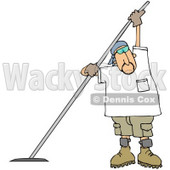 Royalty-free (RF) Clipart Illustration of a Man Using A Concrete Finishing Tool And Wearing Sunglasses © Dennis Cox #61423