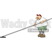 Royalty-free (RF) Clipart Illustration of a Man Using A Cement Finishing Tool And Wearing Sunglasses © djart #61424