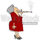 Old Woman Smoking a Cigarette on a Long Filter Clipart Picture © djart #6143