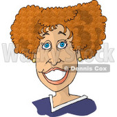 Beautiful Woman With Blue Eyes and Red Curly Hair, Smiling Clipart Picture © djart #6145