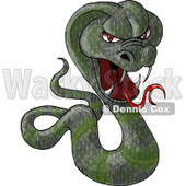 Green Cobra Snake Baring its Fangs and Forked Tongue Clipart Picture © djart #6146