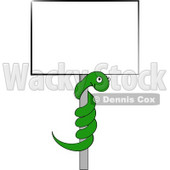 Green Snake Coiled on a Pole to a Blank Sign Clipart Picture © djart #6147