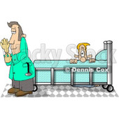 Male Prostate Exam Patient in an Exam Room, Hiding From a Prostate Doctor Clipart Picture © Dennis Cox #6152