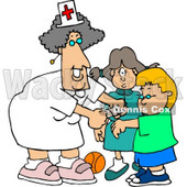 Female School Nurse Putting a Bandage on a Boo-Boo of a School Boy Clipart Picture © Dennis Cox #6153